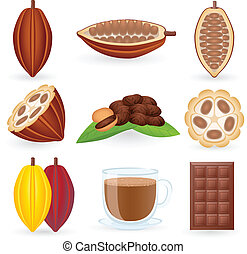 cacao, ensemble, haricots, icône