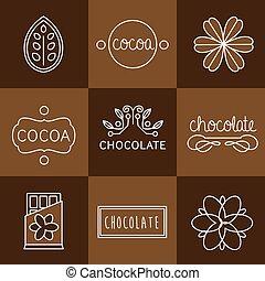 cacao, ensemble, icône