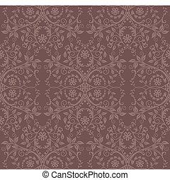 cacao, floral, papel pintado, seamless