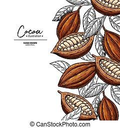 cacao, frame., vector, superfood, dibujo, template., fruta, hoja, y, frijol, engraving., orgánico, alimento sano, sketch.