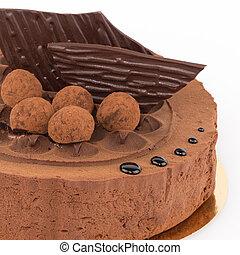 cacao, gâteau, décoré, glaçage