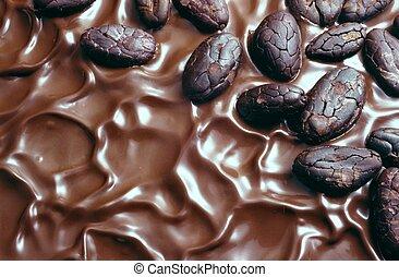 cacao, haricots, glaçage, chocolat