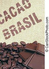 cacao, haricots, hessian