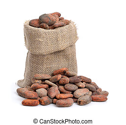 cacao, haricots, rôti, avant