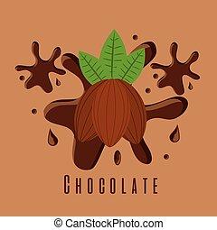 cacao, ingrédient, chocolat, éclaboussure, sucre