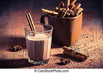 cacao, latte, con, cannella, corteccia
