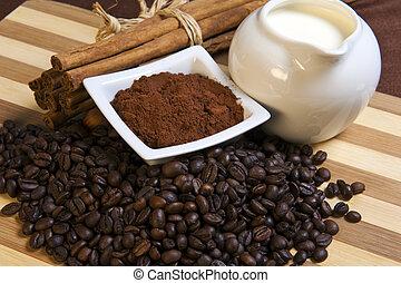 cacao, leche, café