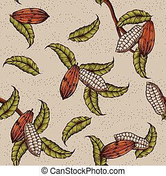Cacao plant background - Classic cacao plant background in...