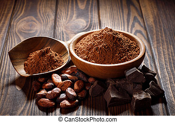 cacao powder in wooden bowl