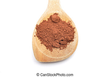 Cacao powder on wooden spoon on white background