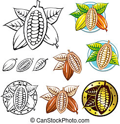 cacao, símbolos, frijol