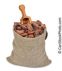 cacao, sac, haricots