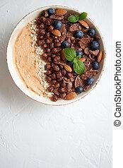 cacao, smoothie, bladeren, cornflakes, granola, munt, chocolade, bosbes, yogurt., of, amandels