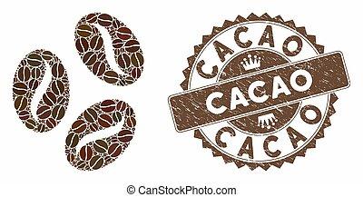 cacao, timbre, détresse, grains café, mosaïque