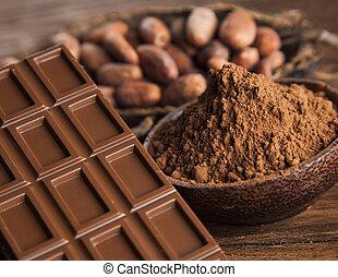 cacao, vaina, y, barra de chocolate, y, alimento, postre, plano de fondo