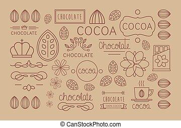 cacao, vecteur, badges., signes, icône, logo, ensemble, ...