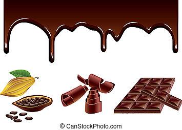 cacao, vector, conjunto, chocolate