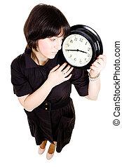 cacasian, valor en cartera de mujer, reloj pared