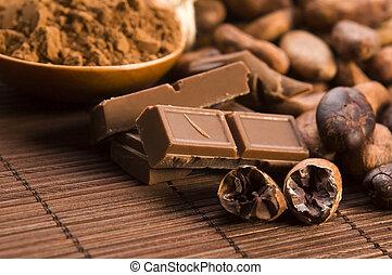 cacau, (cacao), feijões, chocolate