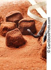 cacau, chocolate, pó, pedaços