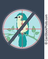 caccia, riprese, fermata, uccello, illustrazione