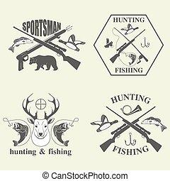 caccia, set, pesca, vendemmia