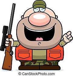 cacciatore, cartone animato, idea