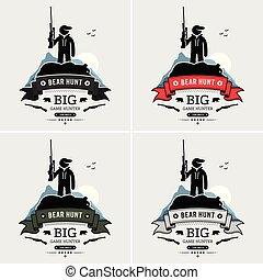 cacciatore, proposta, con, uno, morto, orso, logotipo, design.