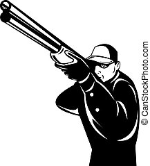 cacciatore, punteria, con, fucile, isolato