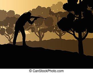 cacciatore, silhouette, fondo