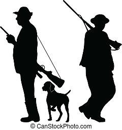 cacciatori, fucili, due