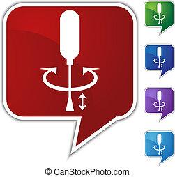 cacciavite, discorso, balloon, icona, set