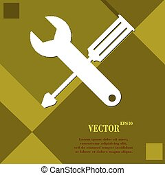 cacciavite, strappare, icona, simbolo, appartamento, moderno, disegno web, con, lungo, uggia, e, spazio, per, tuo, text., vettore