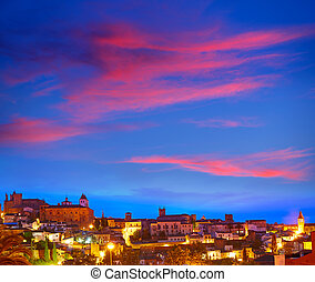 Caceres skyline in Extremadura of Spain - Caceres sunset...