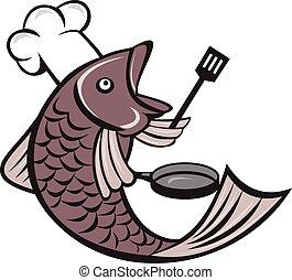 cacerola, espátula, teniendo pez, cocinero, chef, caricatura...