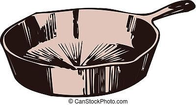 cacerola, ilustración, freír