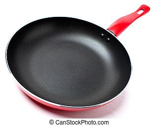 cacerola, teflon, cubierta, rojo, freír, nonstick