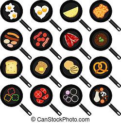 cacerolas, alimento, frito, non-stick, freír