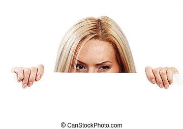 caché, papier, derrière, femme