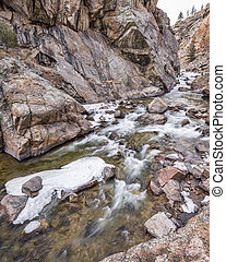 Cache la Poudre River at Big Narrows west of Fort Collins in northern Colorado - winter scenery with some ice. 4x5 format stitched from 3 pictures,