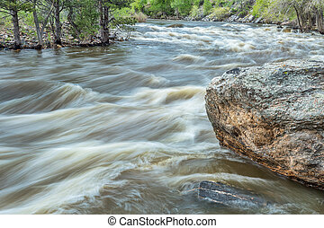 Cache la Poudre River at spring run off, a popular among whitewater kayakers, Filter Plant section, near Fort Collins, Colorado