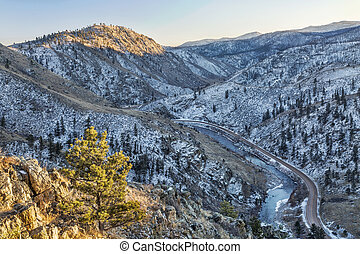 Cache la Poudre River Canyon and Colorado highway 14 - a winter view from Gateway Natural Area near Fort Collins