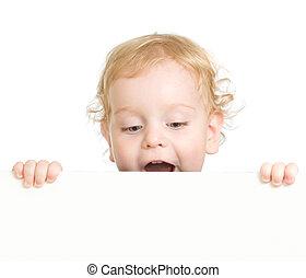 cacheados, criança, segurando, em branco, anunciando,...