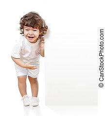 cacheados, engraçado, menina, segurando, em branco,...