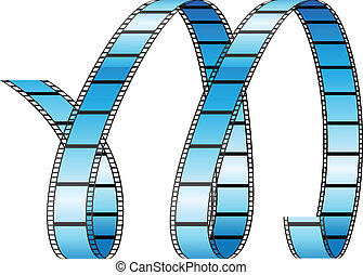 cacheados, formando, m, letra, bobina, película