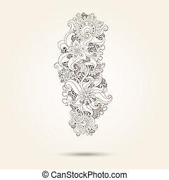 cachemira, alheña, diseño, mehndi, doodles, element.