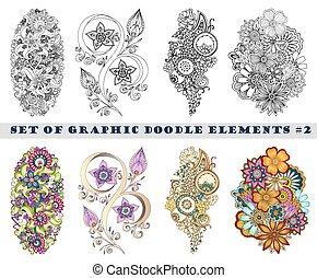 cachemira, conjunto, alheña, mehndi, doodles, element.