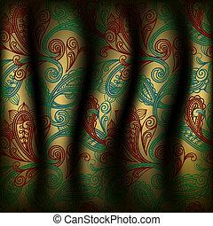 cachemira, cortina, vector, plano de fondo
