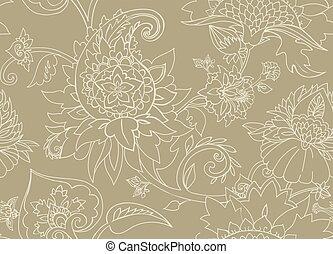 cachemira, paisley., ornament., seamless, textil, oriental, patrón, floral, buta, o