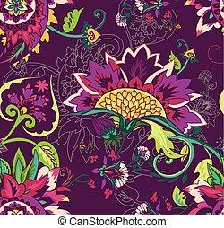 cachemira, paisley., ornament., seamless, textil, oriental, patrón, floral